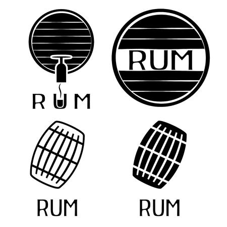 rum: vintage labels set with barrels of rum