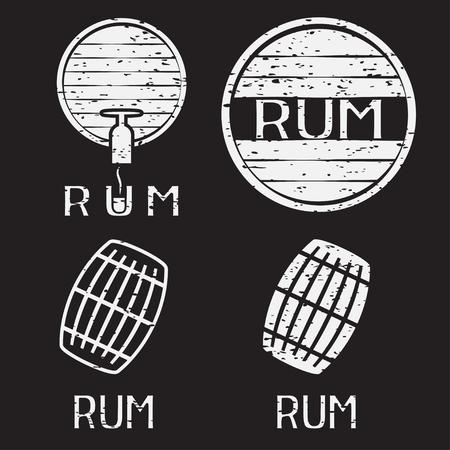 rum: grunge vintage labels set with barrels of rum
