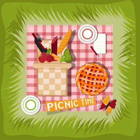 wine and cheese: picnic basket cartoon vector illustration Illustration