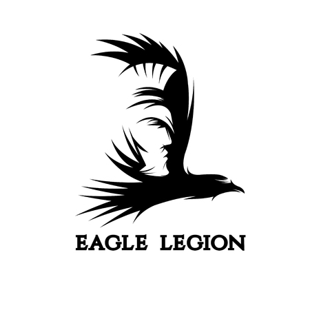 negative space vector concept of warrior head in eagle Illustration