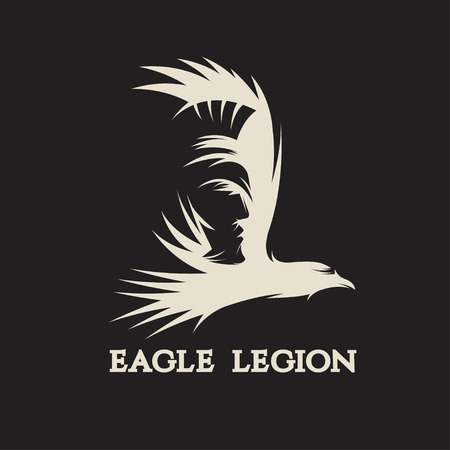 negative space: negative space vector concept of warrior head in eagle Illustration