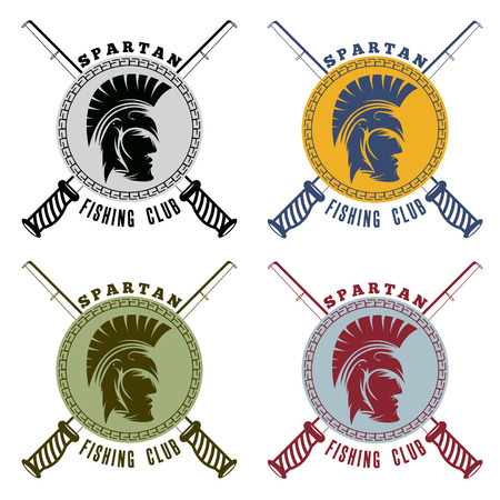 soldier fish: spartan fishing club labels with warrior head