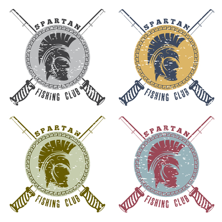 soldier fish: grunge spartan fishing club labels with warrior head Illustration