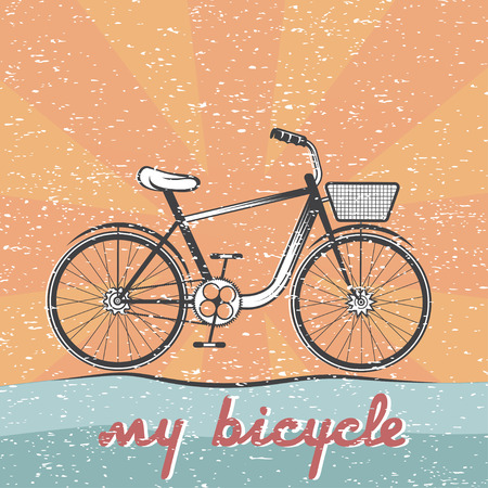 spoked: grunge retro vector illustration of  bicycle