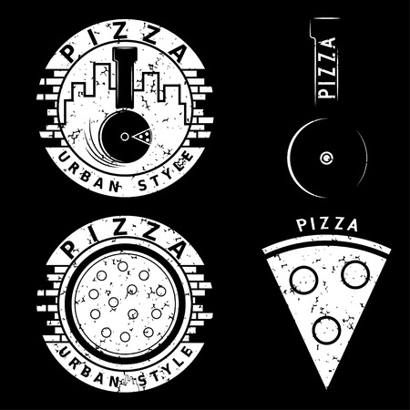 urban style: grunge urban style pizza vector labels and elements set