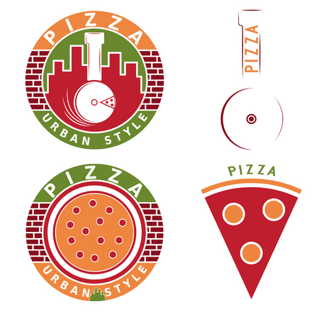 urban style: urban style pizza vector labels and elements set Illustration