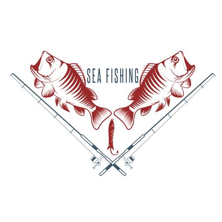sea bass: sea fish vintage vector illustration with sea bass