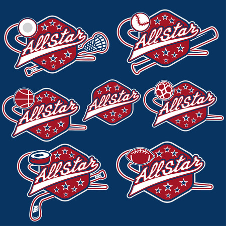 league: set of vintage sports all star crests