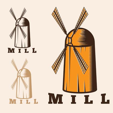 spinning windmill: illustration of old mill