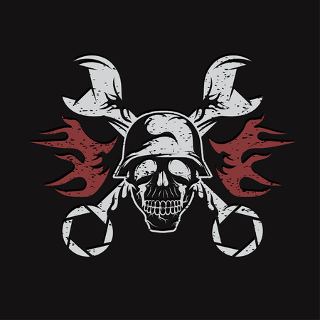 spurt: grunge bikers theme emblem with skull,flames and wrenches