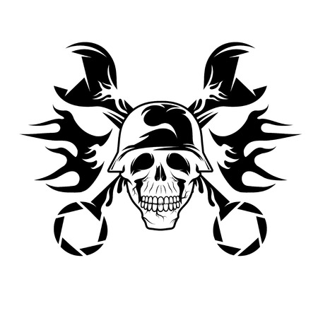 spurt: bikers theme emblem with skull,flames and wrenches