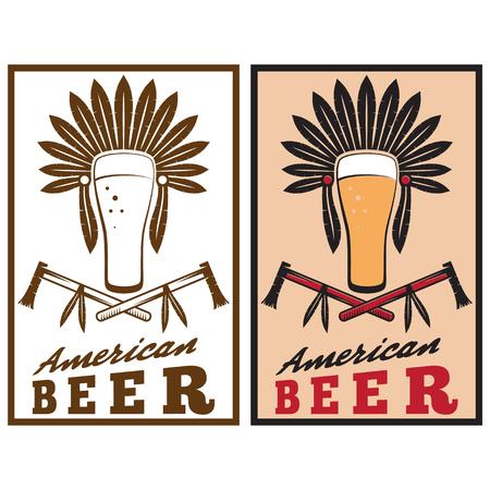 native american headdress: vintage emblem of american beer with native american headdress Illustration