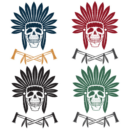 redskin: set of Native American chief skull in tribal headdress with tomahawks Illustration