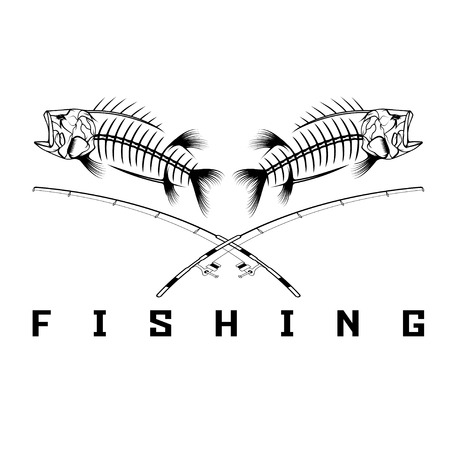 vintage fishing emblem with skeleton of bass Illusztráció