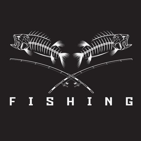 vintage fishing emblem with skeleton of bass 일러스트