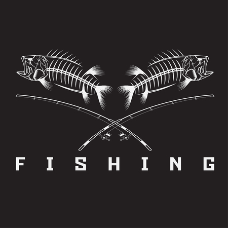 vintage fishing emblem with skeleton of bass Vettoriali
