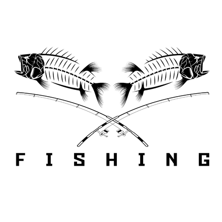 vintage fishing emblem with skeleton of bass Çizim