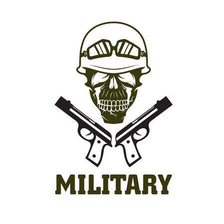 trooper: military emblem with skull and guns Vectores