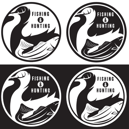 negative space: negative space concept of hunting and fishing theme,vintage vector labels Illustration