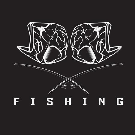 largemouth: vintage fishing emblem with skull of bass