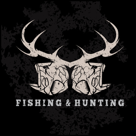 fishing: hunting and fishing vintage grunge emblem with skulls of animals