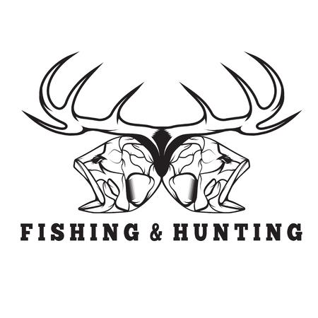large skull: hunting and fishing vintage emblem with skulls of animals Illustration