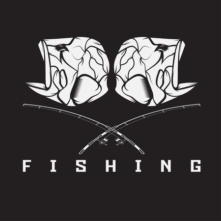 jig: vintage fishing emblem with skull of bass