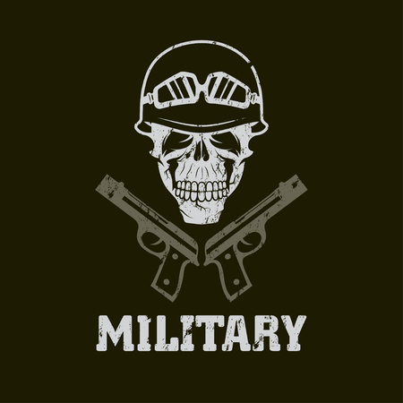 grunge military emblem with skull and guns
