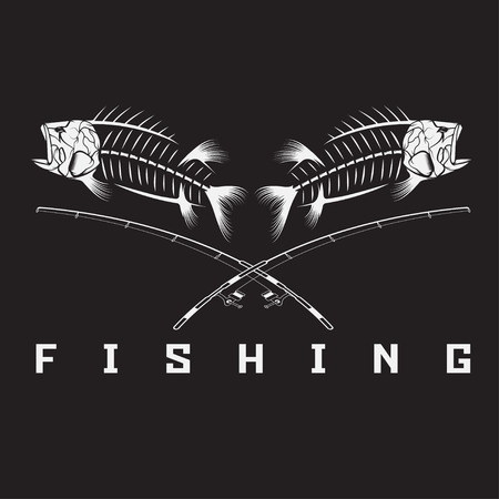 trout fishing: vintage fishing emblem with skeleton of bass Illustration