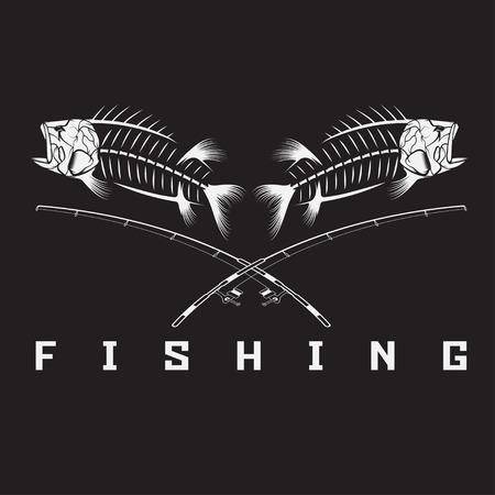 fish fishing: vintage fishing emblem with skeleton of bass Illustration