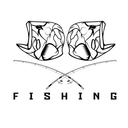 minnow: vintage fishing emblem with skull of bass