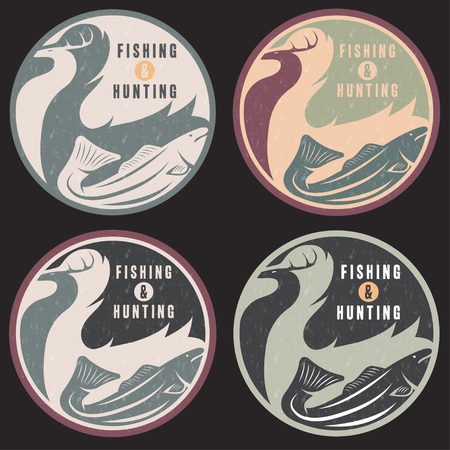 negative space: negative space concept of hunting and fishing theme,vintage grunge vector labels