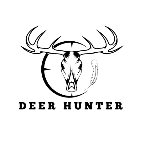 dead duck: deer skull with target and feather vector design template