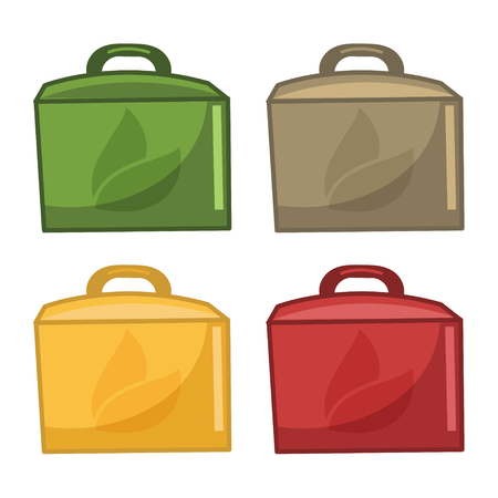 paper bags: Icons paper bags for food. Vector Illustration