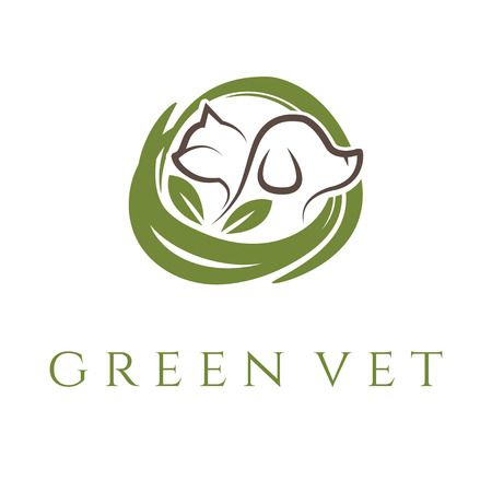 Logo template for veterinary clinic with cat and dog.Vector Illustration
