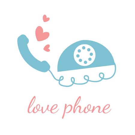 caller: Love phone vector design template