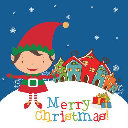 mythical festive: Christmas Elf Card template. Vector Illustration