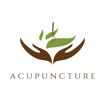 Vector template of acupunture theme Çizim