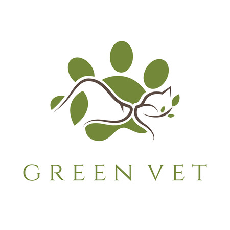 veterinary icon: Logo template for veterinary clinic with cat and dog.Vector Illustration