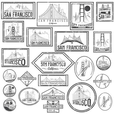 portones: Establecer insignias del grunge con horizonte de San Francisco. Vector