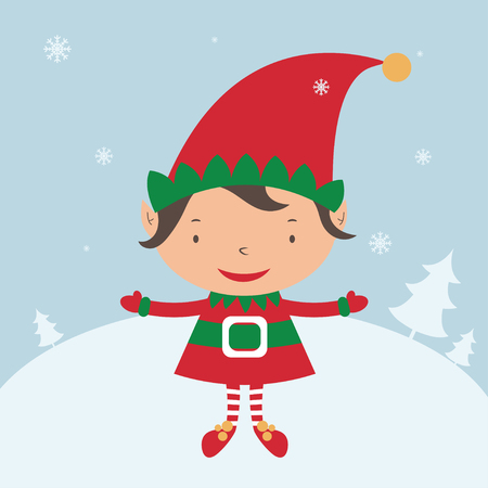 elf cartoon: Christmas Elf Card template. Vector Illustration