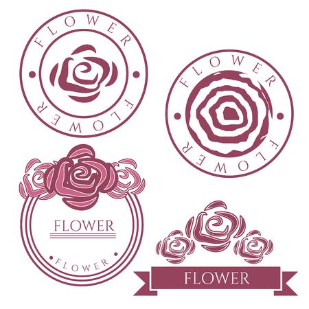 Vintage vector labels with rose flower