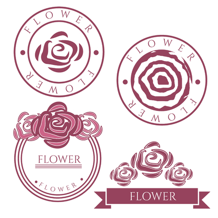 abstract rose: Vintage vector labels with rose flower