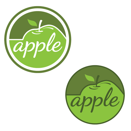Set of vector labels with apples