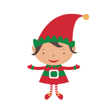 elf hat: Christmas Elf Card template. Vector Illustration