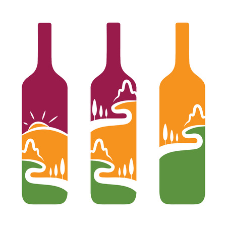 tun: Vector concept of wine bottles with trees and mountains