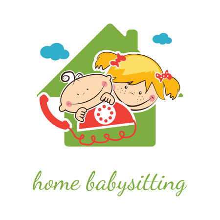 nanny: Home babysitter vector concept with funny boy and girl