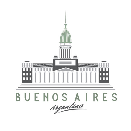 aires: Building of Congress in Buenos Aires, Argentina, vector illustration Illustration