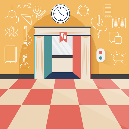 maths department: Book elevator flat design concept and icons of science, technology and art