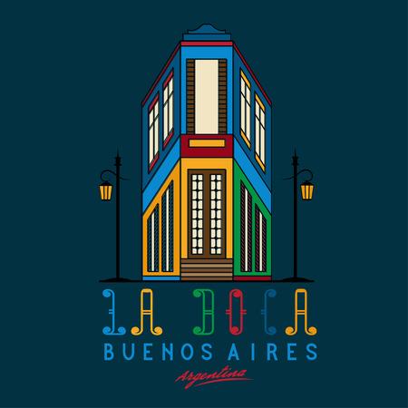 la boca: Vector illustration Caminito street in La Boca neighborhood of Buenos Aires, Argentina